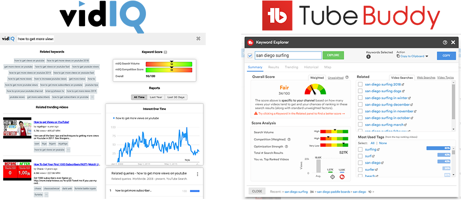 VidIQ vs TubeBuddy Keyword research Tool