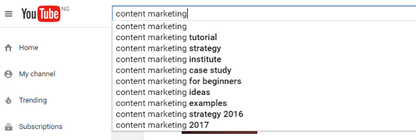YouTube Search Autocomplete